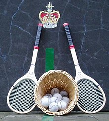 real tennis ball and racket